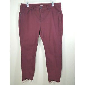 a.n.a. Maroon Cropped Raw Hem Skinny Ankle Jeans